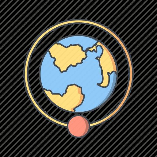 around the earth, astronomy, earth, orbit, orbit around earth icon