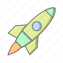 launch, rocket, satellite, space ship, spacecraft icon