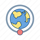 around the earth, earth, orbit, orbit around earth icon