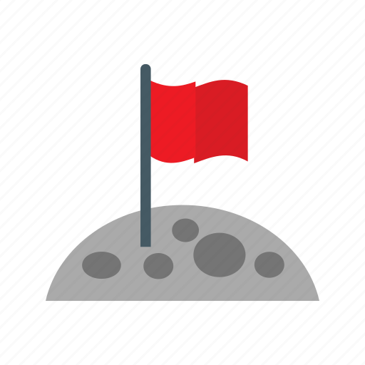 flag, flag at moon, moon icon
