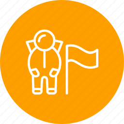 astronout, flag, spaceman icon