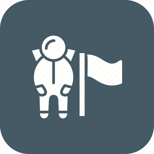 astronaut, flag, flag at moon, location, spaceman icon