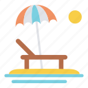 beach, holiday, summer, sunning, travel, umbrella, vacation icon