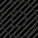 alphabet, atm, d, letter, ui, uppercase icon
