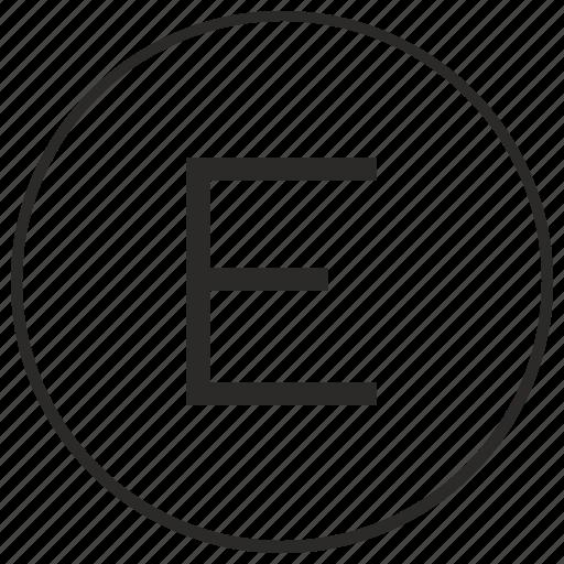 alphabet, atm, e, letter, ui, uppercase icon