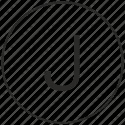 alphabet, atm, j, letter, ui, uppercase icon
