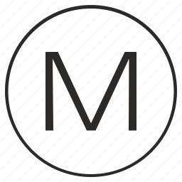 alphabet, atm, letter, m, ui, uppercase icon