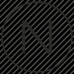 alphabet, atm, letter, n, ui, uppercase icon