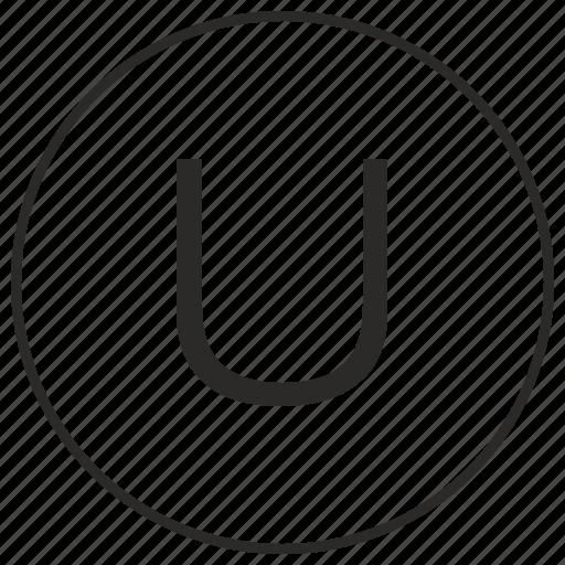 alphabet, atm, letter, u, ui, uppercase icon
