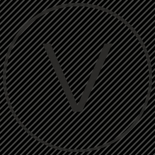 alphabet, atm, letter, ui, uppercase, v icon