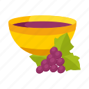 attribute, bowl, branch, god, grapes icon