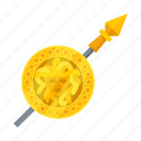 attribute, god, shield, spear icon