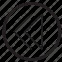 arrow, audio, left, movie, music, rewind