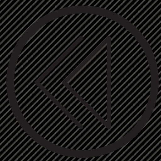arrow, audio, left, movie, music, rewind icon