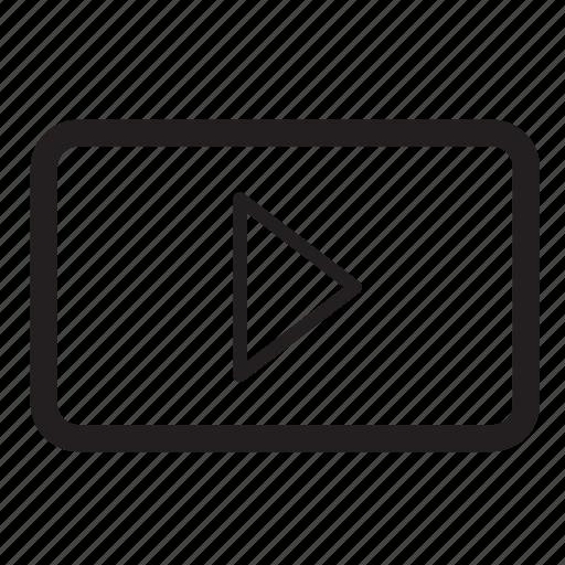 arrow, audio, movie, music, play, right icon