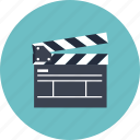board, cinema, clap, clapboard, clapper, equipment, film, movie, player, record, start, studio, tool, video icon