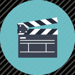 board, cinema, clap, clapboard, clapper, equipment, film, movie, player, record, start, studio, tool, video icon