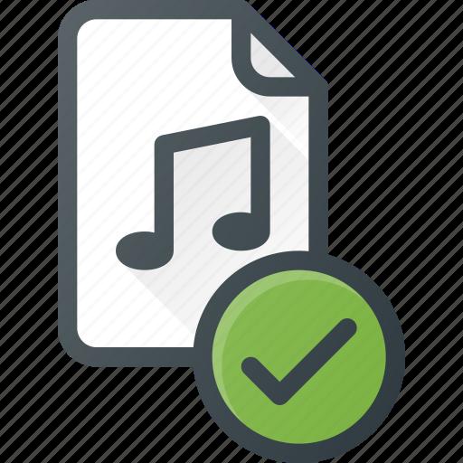 audio, check, file, music, sound icon