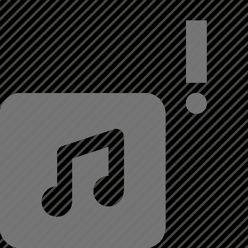 album, alert, error, exclamation, music icon