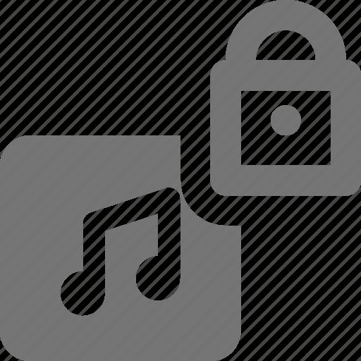 album, lock, music, security icon