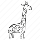 africa, animal, exotic, giraffe, outline icon
