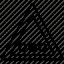 circles, horizontal, mark, road, triangle icon