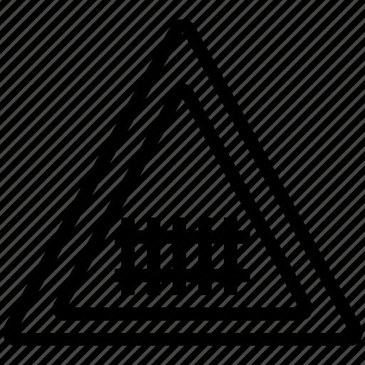 mark, road, tracks, train, triangle icon