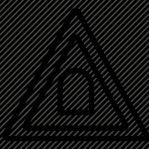 mark, road, triangle, tunnel icon