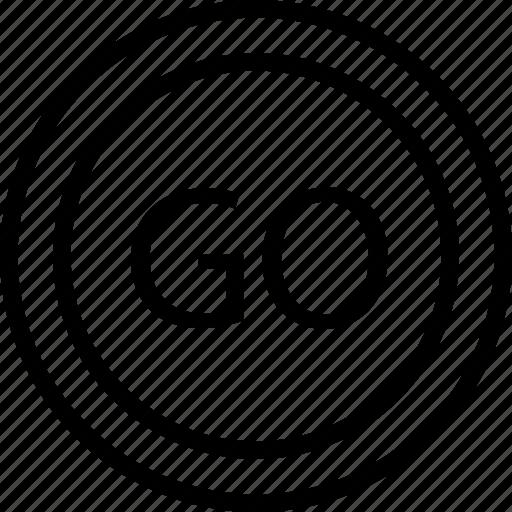 circle, go, mark, road icon