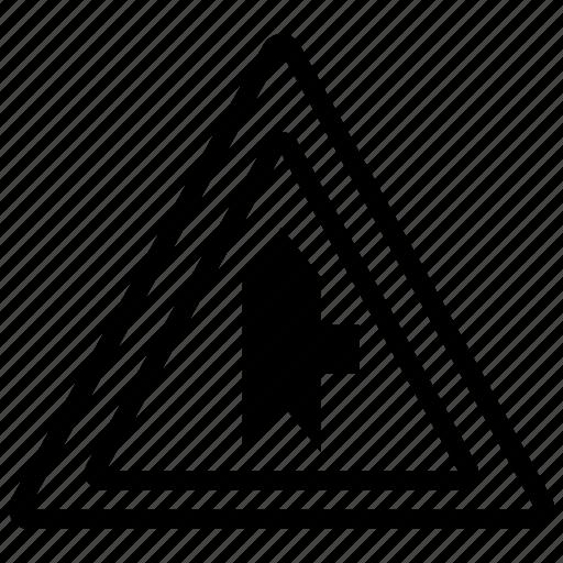 bifurcation, mark, right, road, splitting, triangle icon