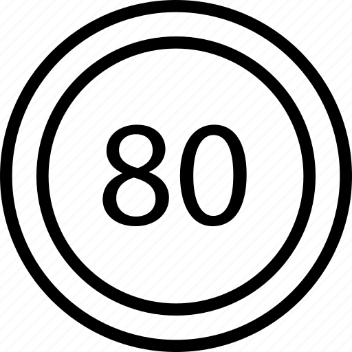 circle, eighty, limit, mark, road, speed icon