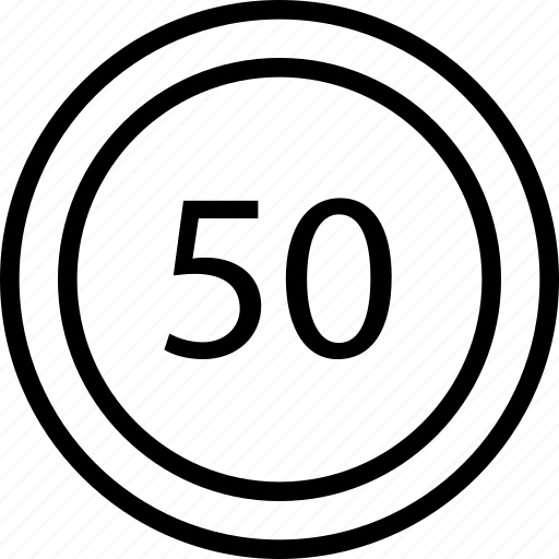 circle, fifty, limit, mark, road, speed icon