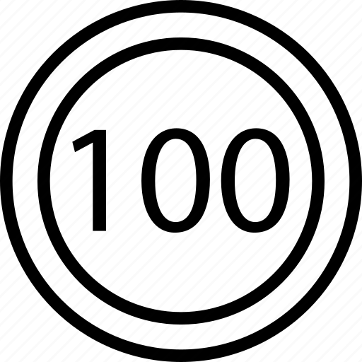 circle, hundred, limit, mark, one, road, speed icon
