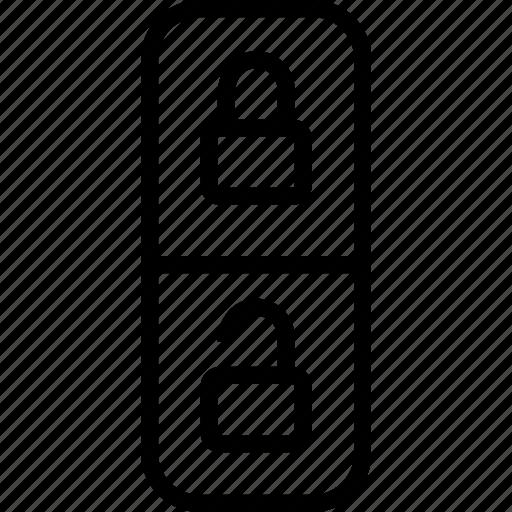 lock, mark, unlock icon
