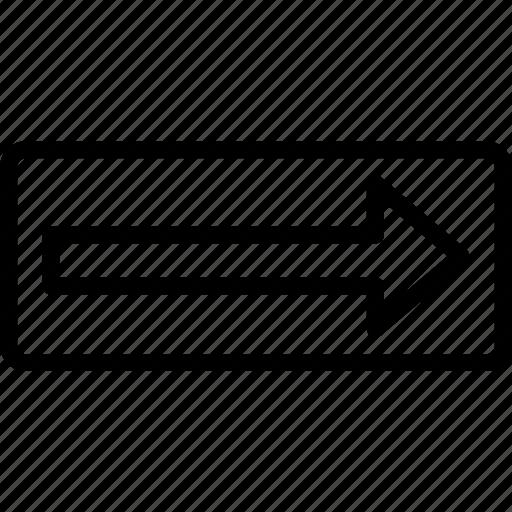 arrow, curve, mark, rectangle, road icon