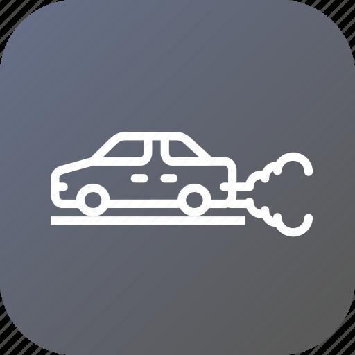 auto, automobile, car, carezhaust, environment, pollution icon