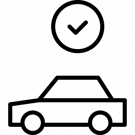 automobile, car, complete, confirmed, done, vehicle icon