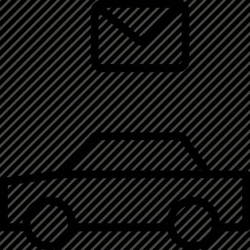 automobile, car, email, envelope, letter, message, vehicle icon