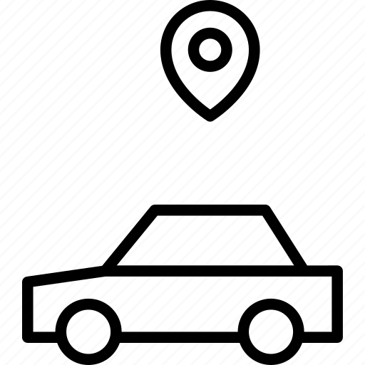 automobile, car, location, map, pin, vehicle icon