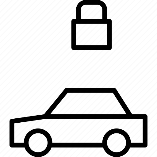 automobile, car, locked, protected, secured, vehicle icon