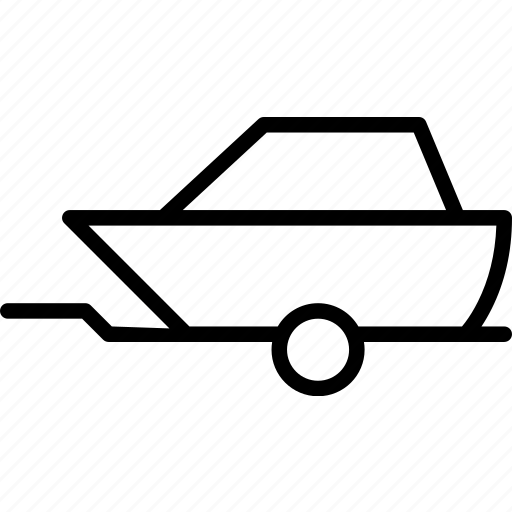 boat, car, trailer, transport, vehicle icon