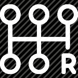 car, gear, gearbox, manual, reverse, shift icon
