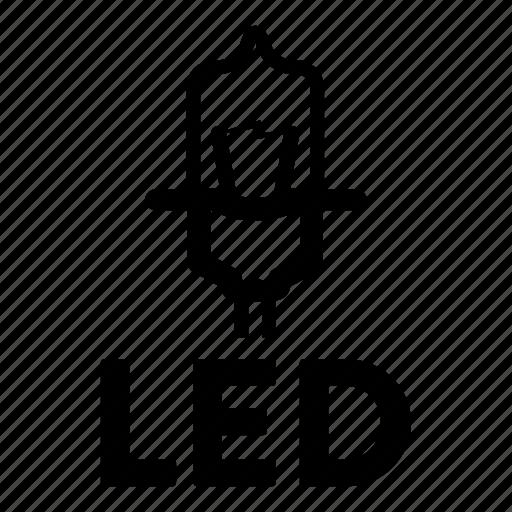 automotive, bulb, led, light, light emitting diode icon