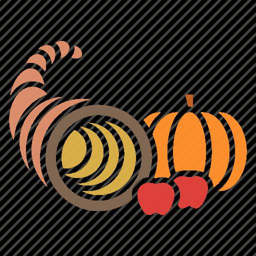 autumn, cornucopia, food, fruits, harvest, plenty, thanksgiving icon
