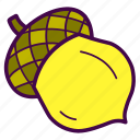 acorn, nut, oak, seed, tree icon