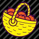 apples, basket, food, harvest icon