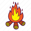 campfire, fire, flame, logs, sparks icon