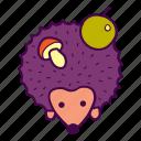 animal, apple, hedgehog, mushroom, wild icon