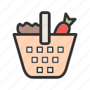 basket, food, fresh, green, healthy, onion, vegetables icon