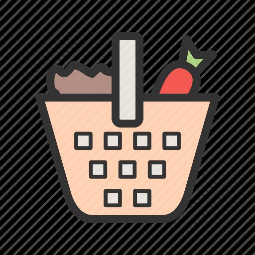 basket, food, fresh, green, healthy, onion, vegetables icon